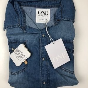 NWT One Teaspoon Dallas Liberty Denim Shirt